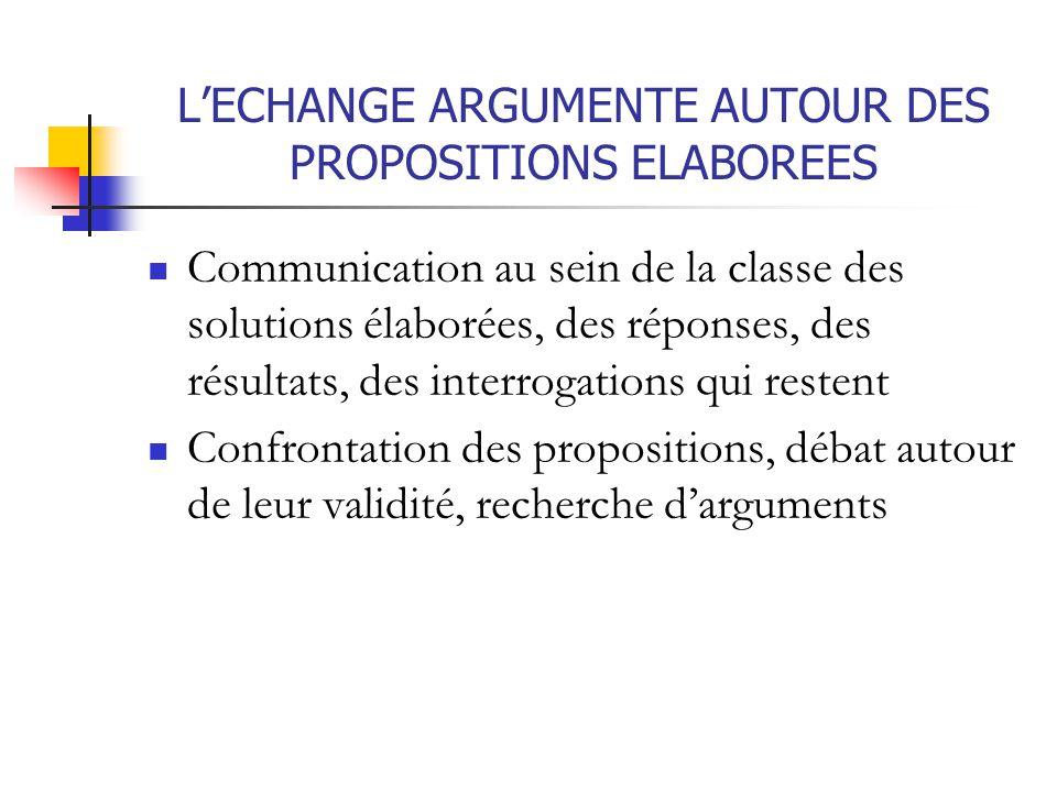 L'ECHANGE ARGUMENTE AUTOUR DES PROPOSITIONS ELABOREES