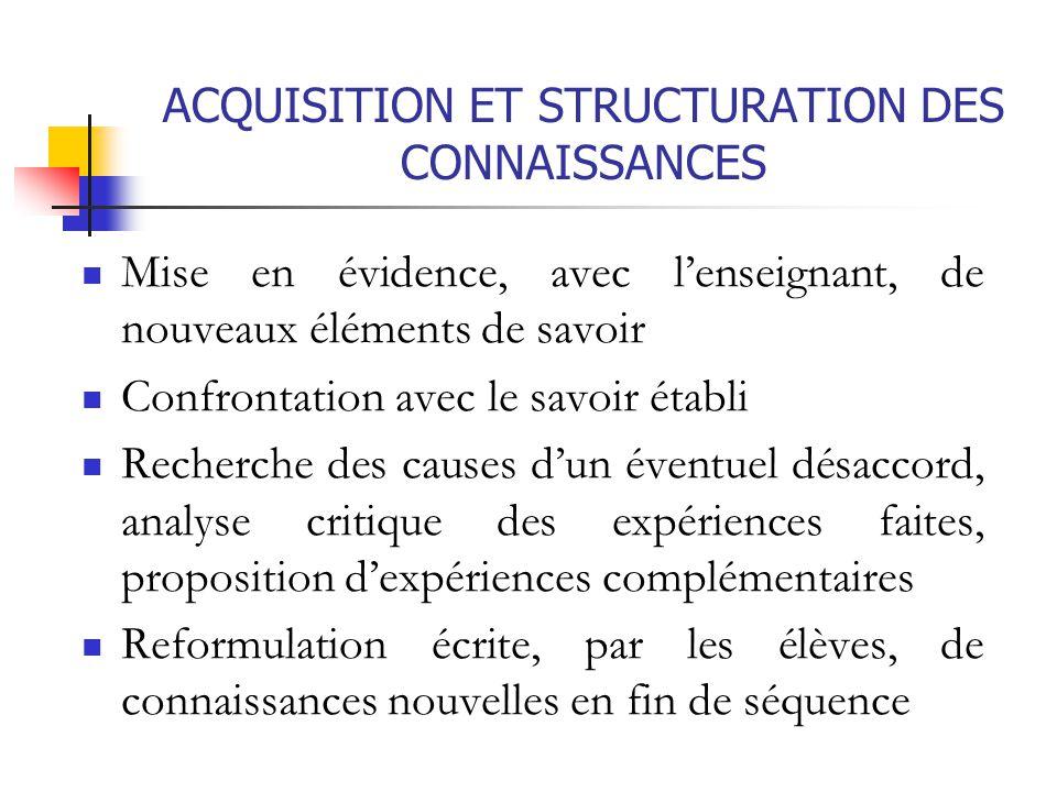 ACQUISITION ET STRUCTURATION DES CONNAISSANCES