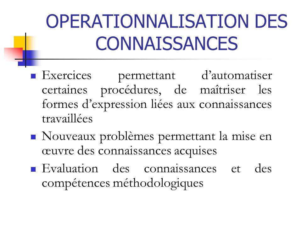 OPERATIONNALISATION DES CONNAISSANCES