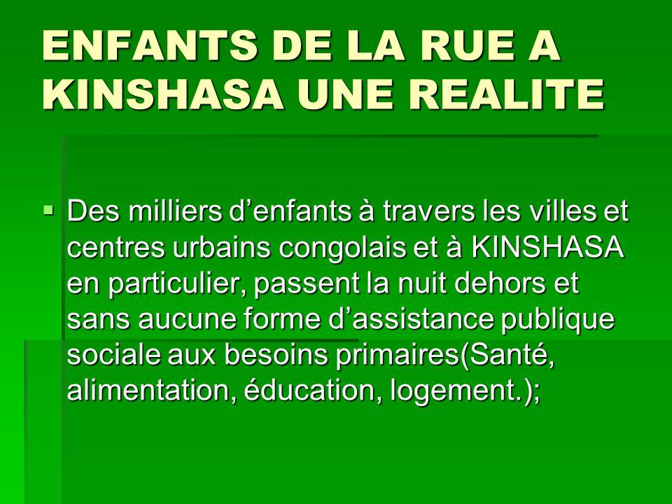ENFANTS DE LA RUE A KINSHASA UNE REALITE