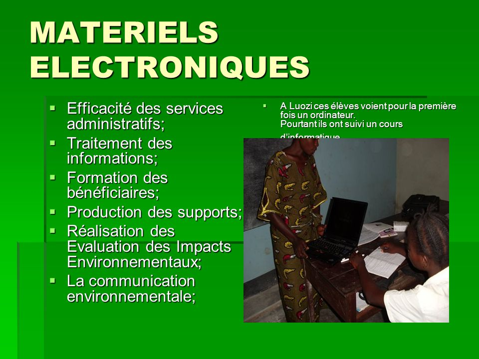 MATERIELS ELECTRONIQUES