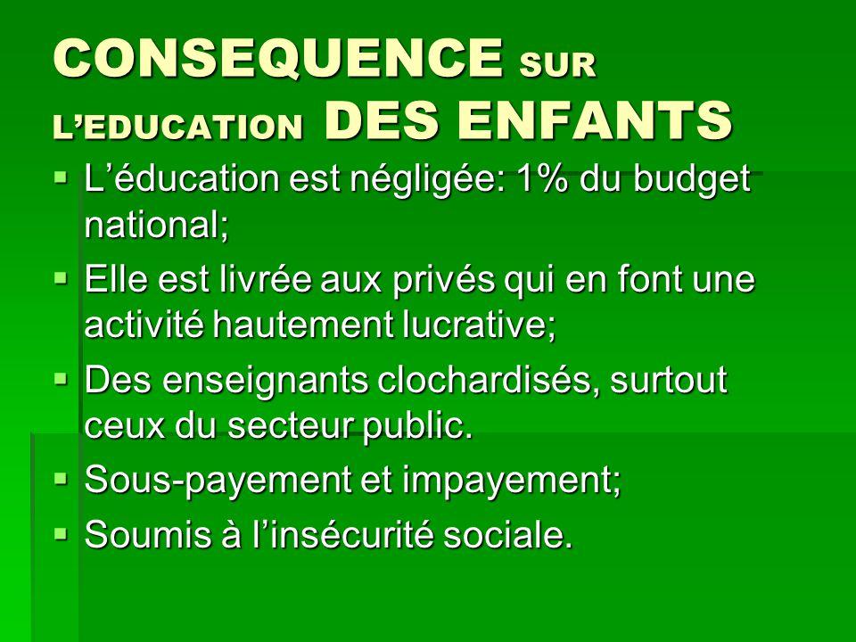 CONSEQUENCE SUR L'EDUCATION DES ENFANTS