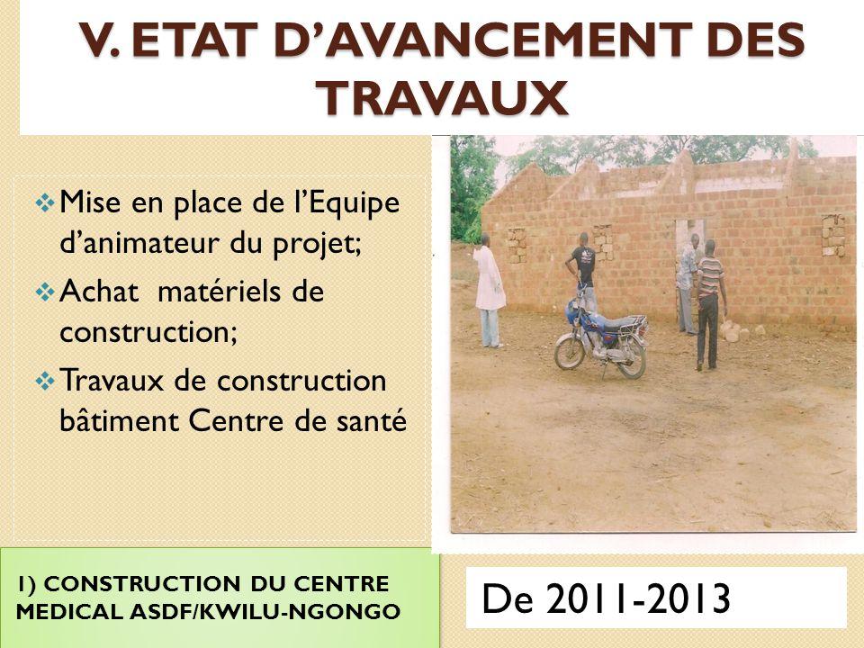 V. ETAT D'AVANCEMENT DES TRAVAUX
