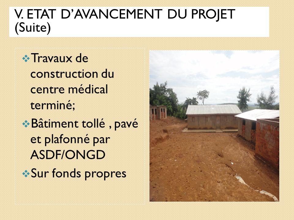 V. ETAT D'AVANCEMENT DU PROJET (Suite)