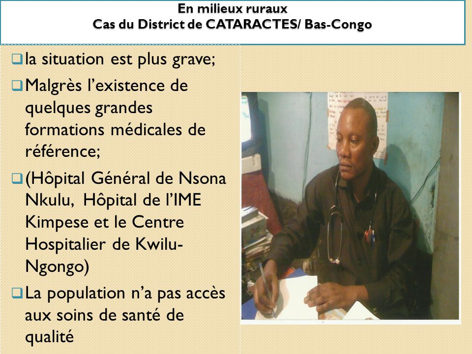 En milieux ruraux Cas du District de CATARACTES/ Bas-Congo