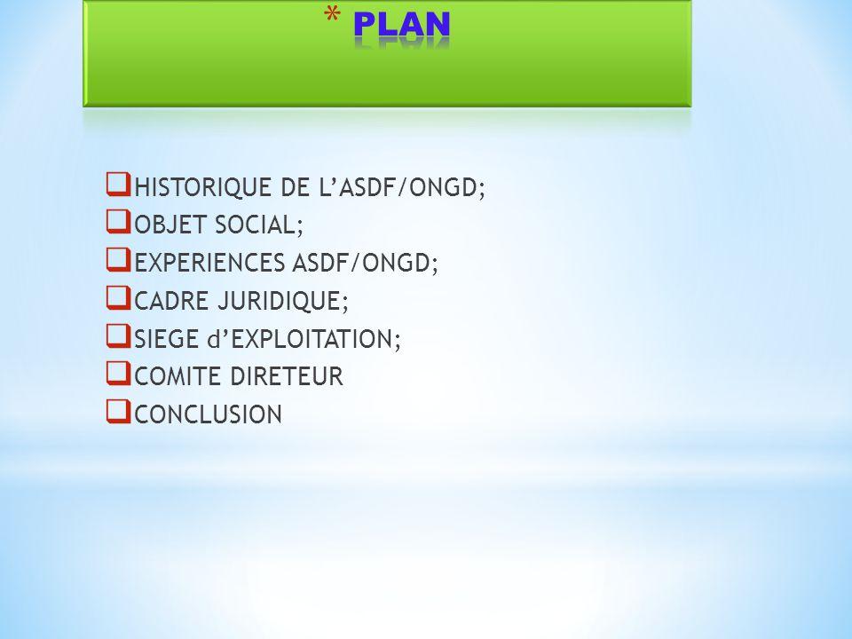 PLAN HISTORIQUE DE L'ASDF/ONGD; OBJET SOCIAL; EXPERIENCES ASDF/ONGD;