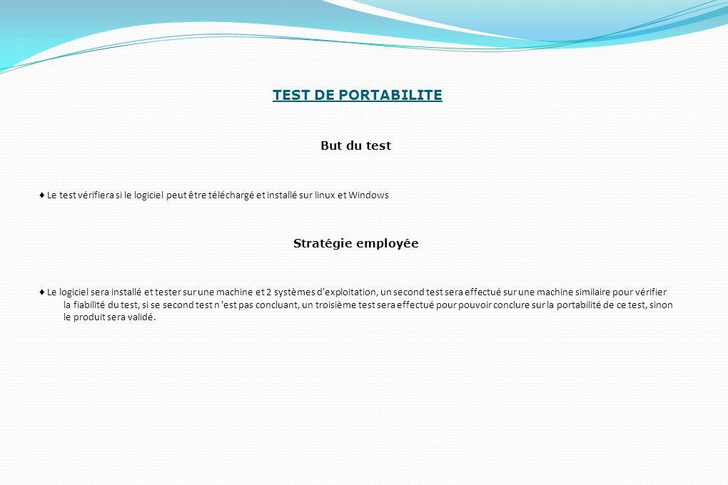 TEST DE PORTABILITE But du test Stratégie employée