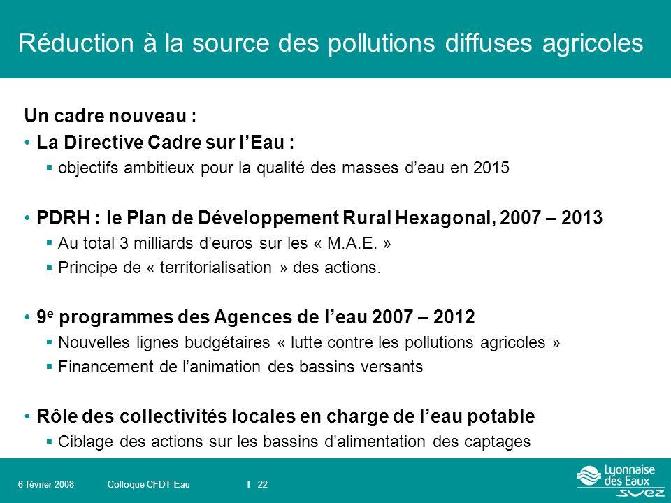Réduction à la source des pollutions diffuses agricoles