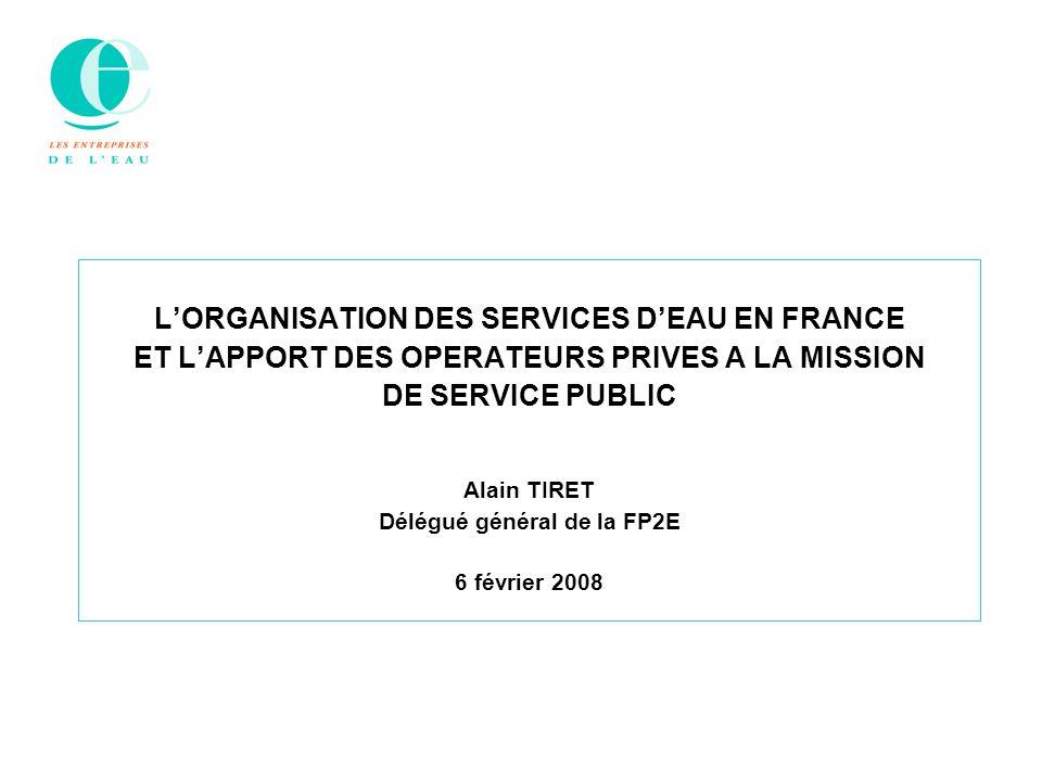 L'ORGANISATION DES SERVICES D'EAU EN FRANCE