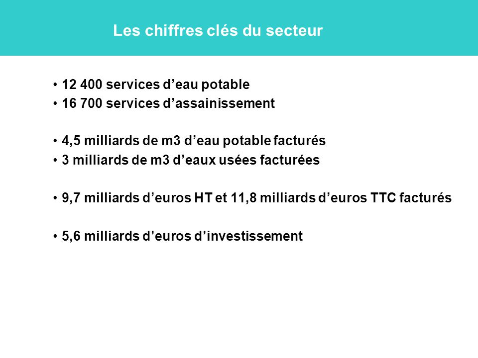 Les chiffres clés du secteur