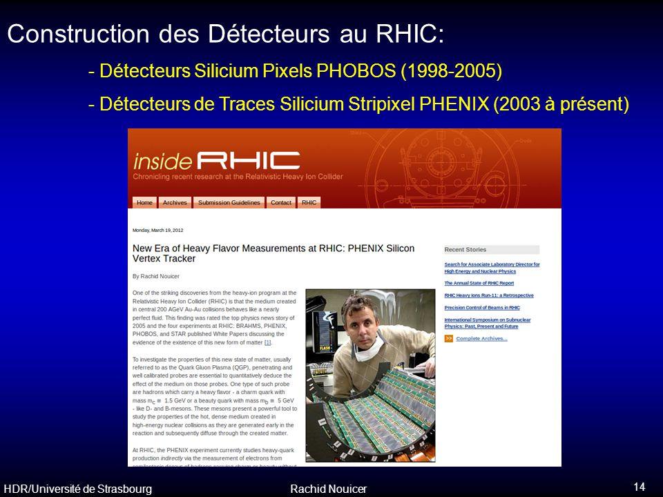Construction des Détecteurs au RHIC: