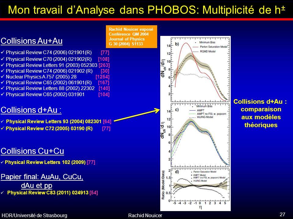 Collisions d+Au : comparaison aux modèles théoriques