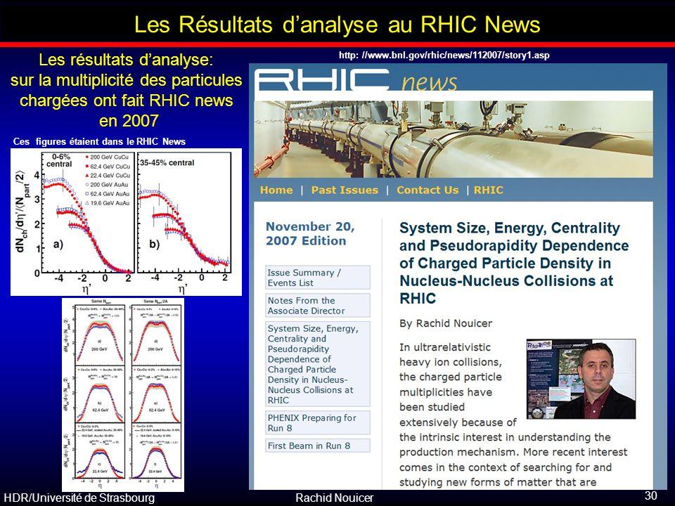 Les Résultats d'analyse au RHIC News