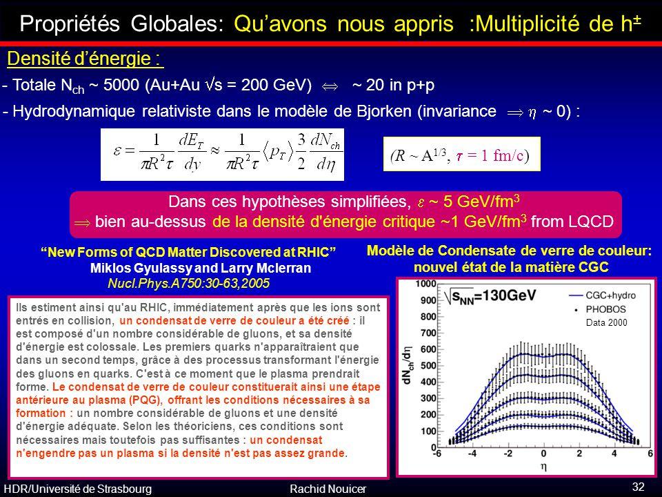 Propriétés Globales: Qu'avons nous appris :Multiplicité de h±