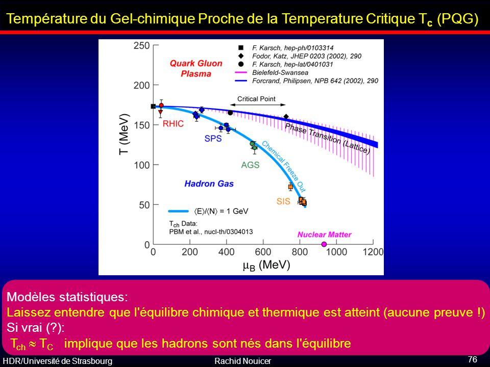 Température du Gel-chimique Proche de la Temperature Critique Tc (PQG)