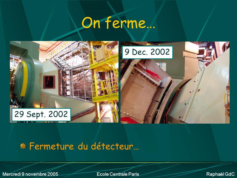 On ferme… Fermeture du détecteur… 9 Dec. 2002 29 Sept. 2002