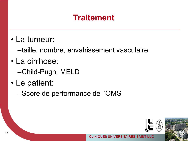 Traitement La tumeur: La cirrhose: Le patient: