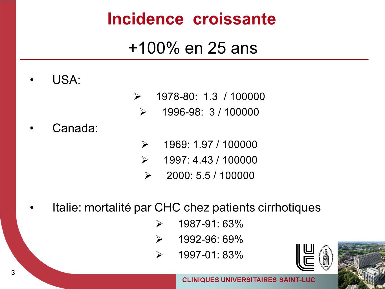Incidence croissante +100% en 25 ans USA: Canada: