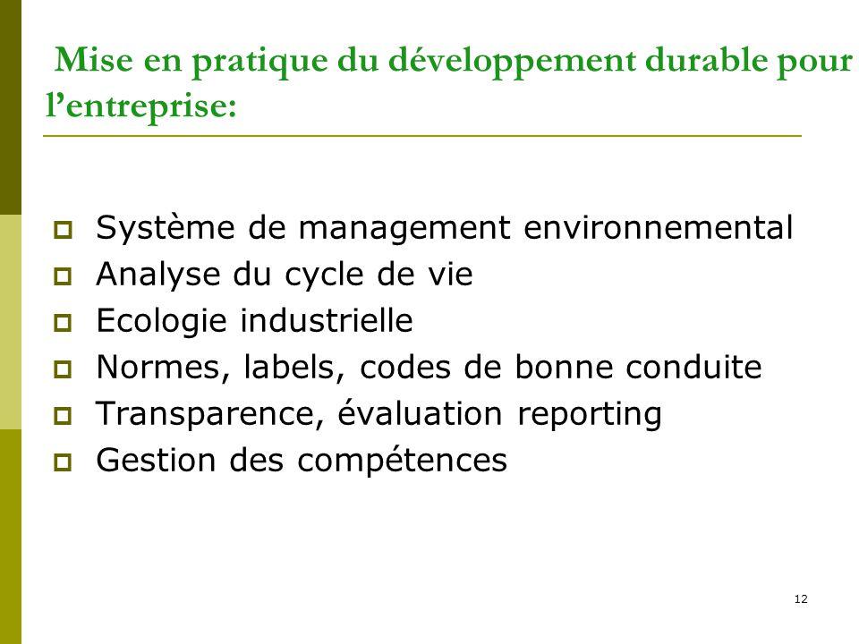 Mise en pratique du développement durable pour l'entreprise: