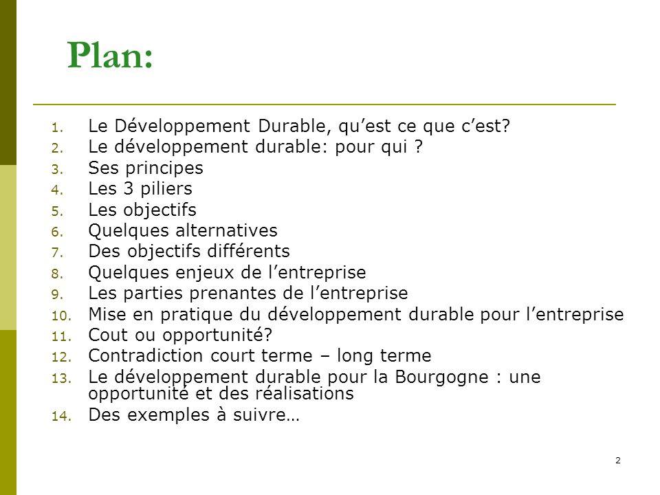 Plan: Le Développement Durable, qu'est ce que c'est