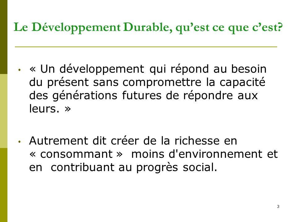Le Développement Durable, qu'est ce que c'est