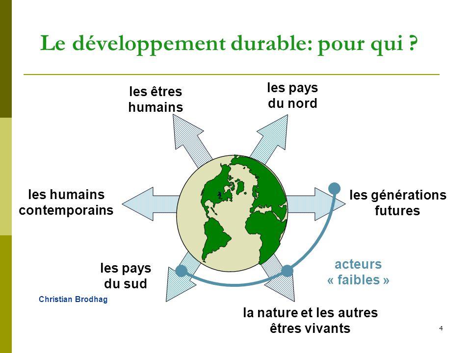 Le développement durable: pour qui