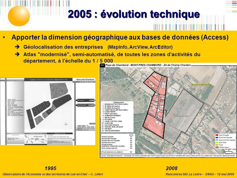 2005 : évolution technique Apporter la dimension géographique aux bases de données (Access)