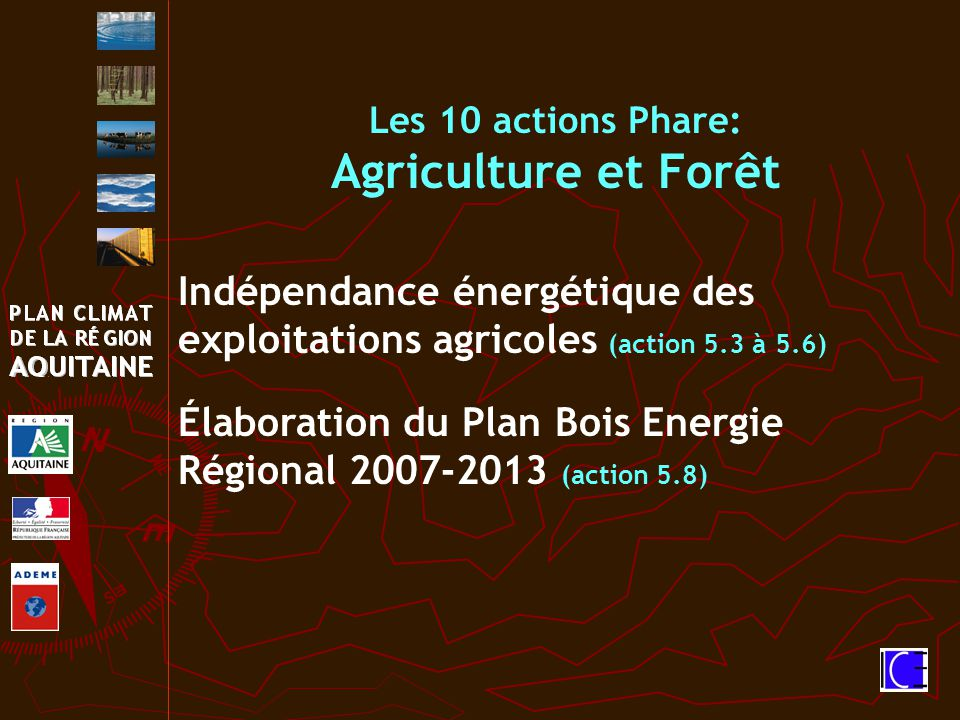 Les 10 actions Phare: Agriculture et Forêt