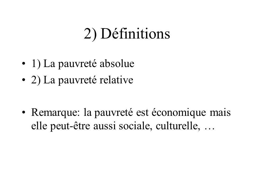 2) Définitions 1) La pauvreté absolue 2) La pauvreté relative