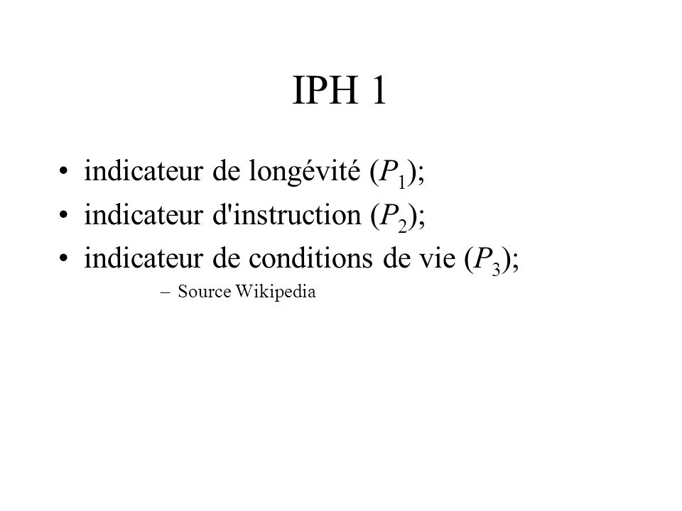 IPH 1 indicateur de longévité (P1); indicateur d instruction (P2);