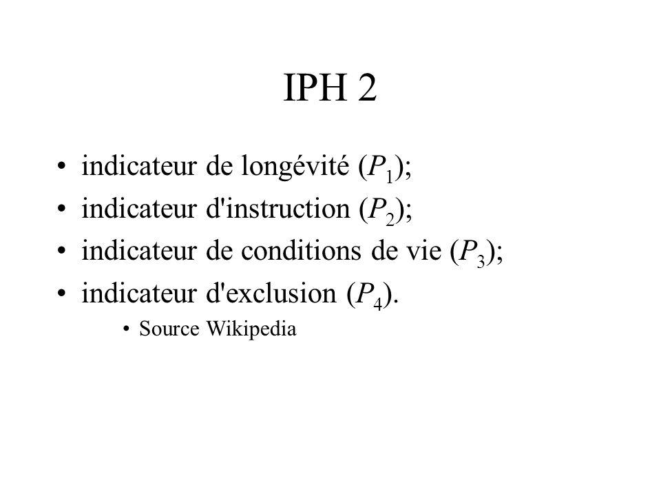IPH 2 indicateur de longévité (P1); indicateur d instruction (P2);
