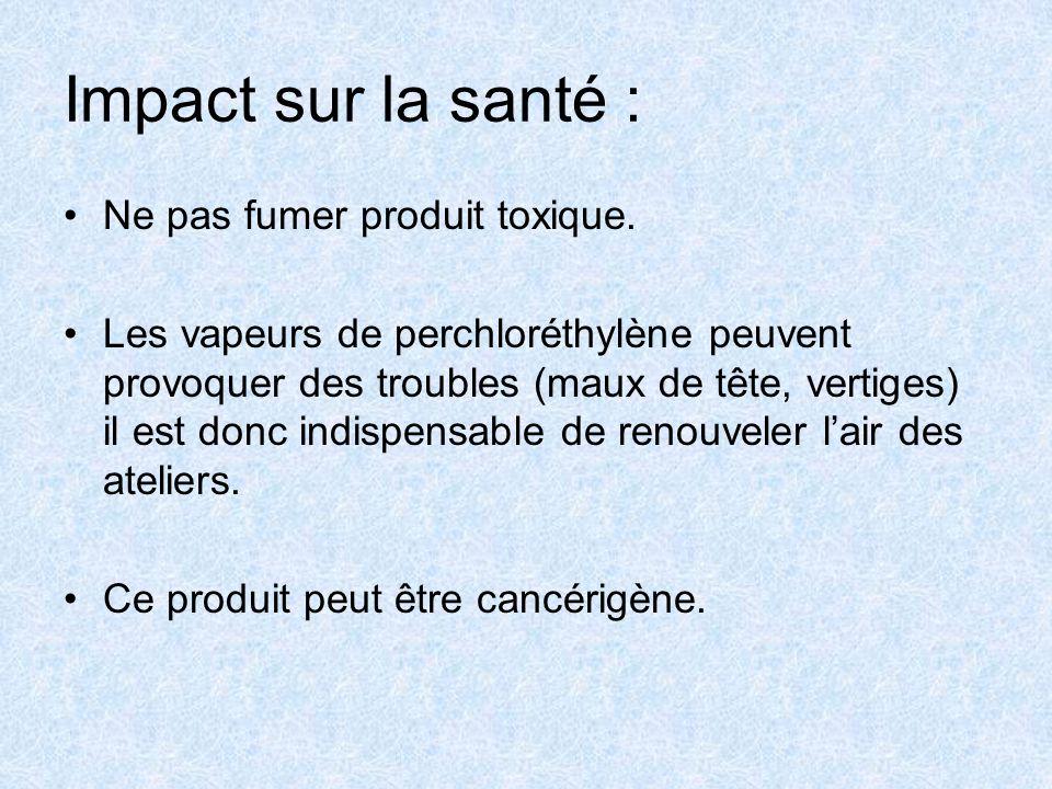 Impact sur la santé : Ne pas fumer produit toxique.
