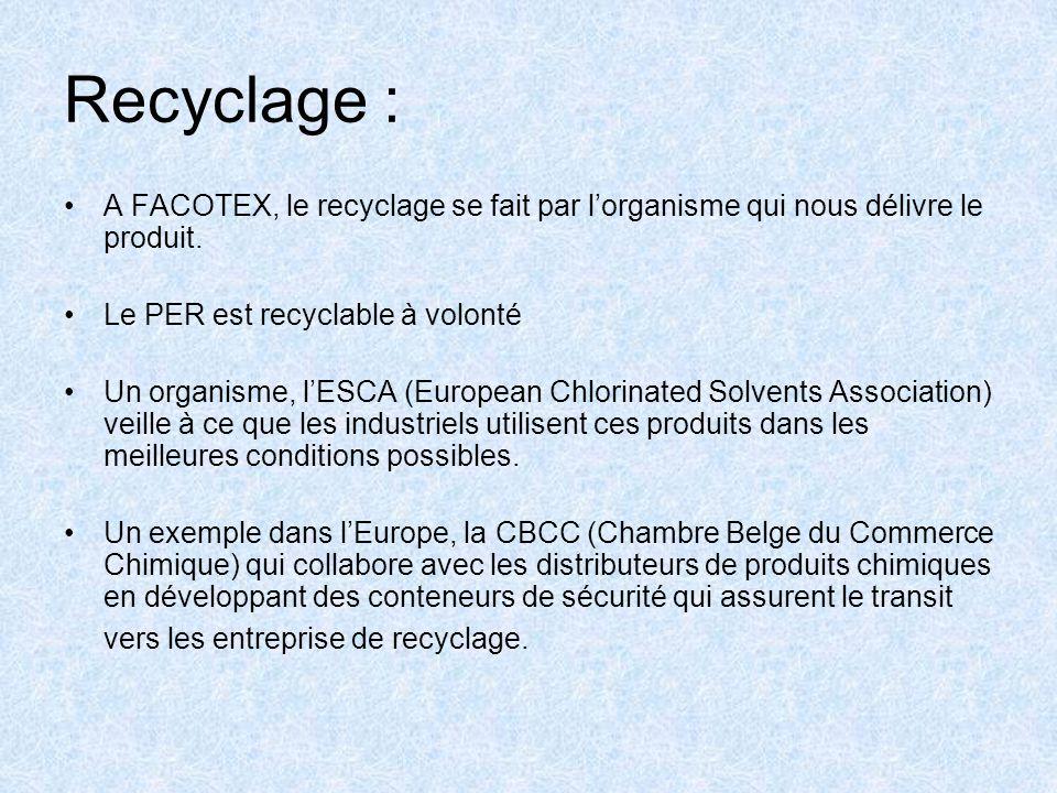 Recyclage : A FACOTEX, le recyclage se fait par l'organisme qui nous délivre le produit. Le PER est recyclable à volonté.
