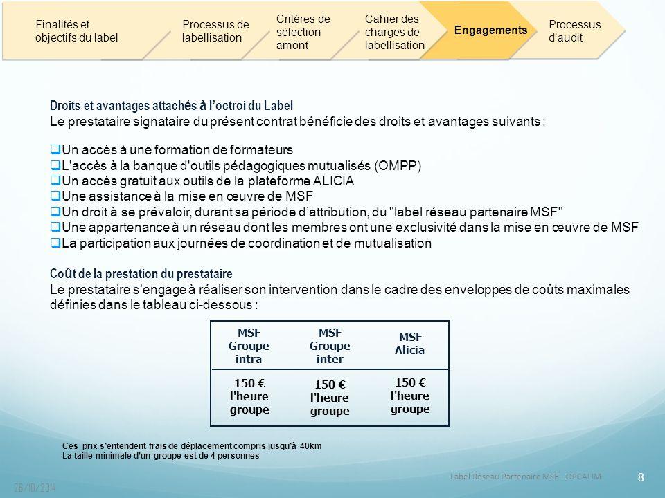 Droits et avantages attachés à l'octroi du Label