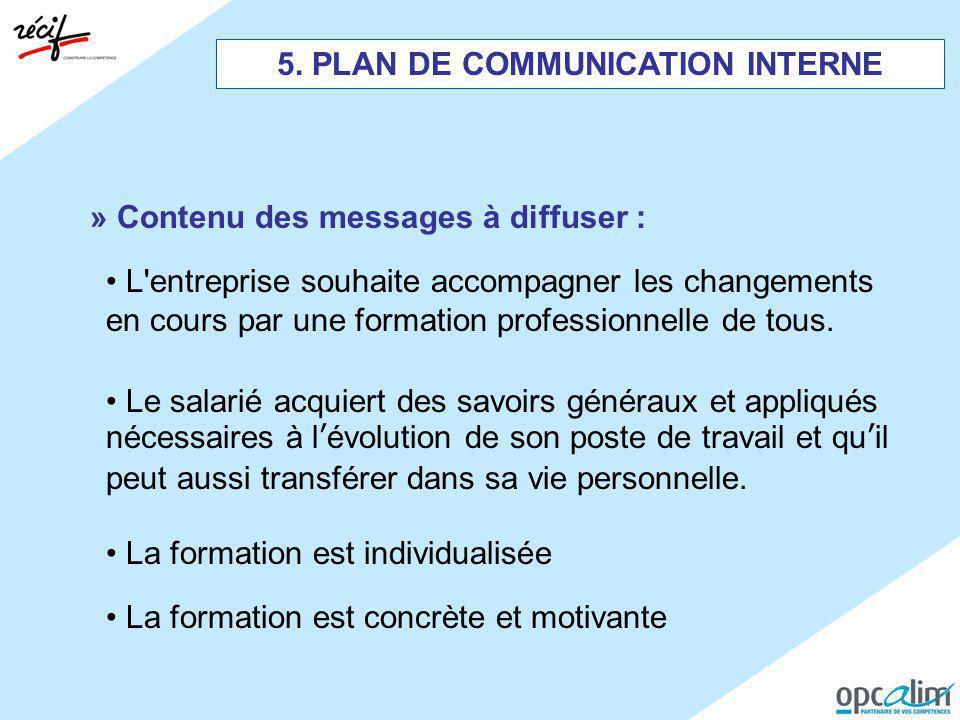 5. PLAN DE COMMUNICATION INTERNE