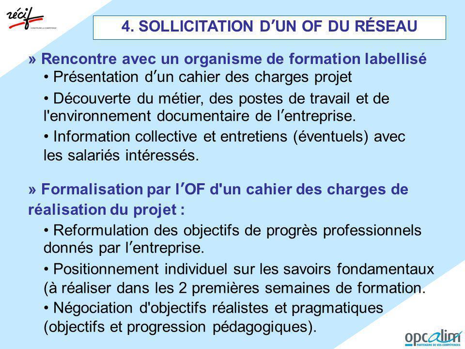 4. SOLLICITATION D'UN OF DU RÉSEAU