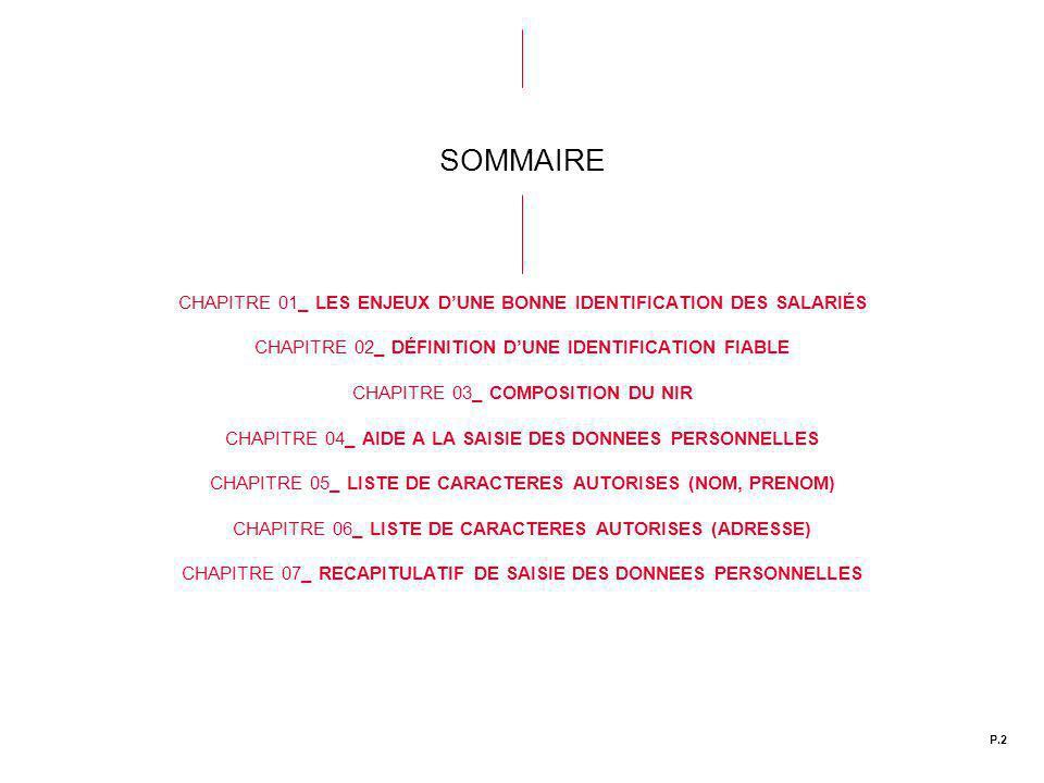 SOMMAIRE CHAPITRE 01_ LES ENJEUX D'UNE BONNE IDENTIFICATION DES SALARIÉS. CHAPITRE 02_ DÉFINITION D'UNE IDENTIFICATION FIABLE.