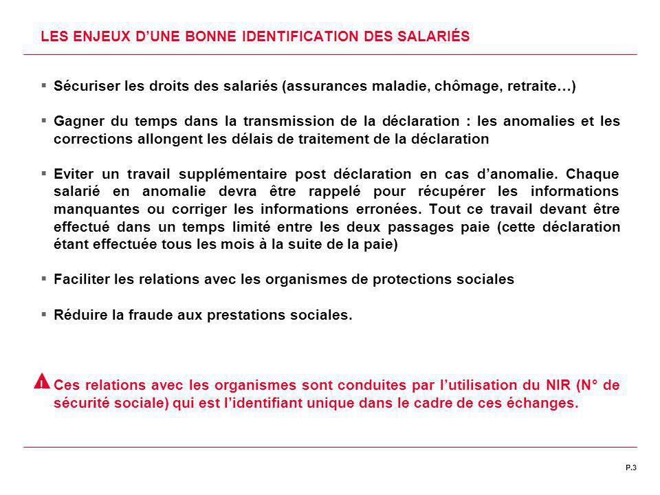 LES ENJEUX D'UNE BONNE IDENTIFICATION DES SALARIÉS
