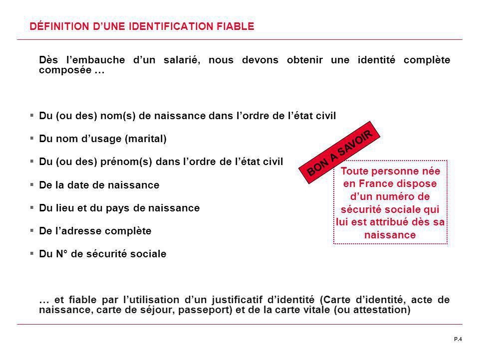 DÉFINITION D'UNE IDENTIFICATION FIABLE