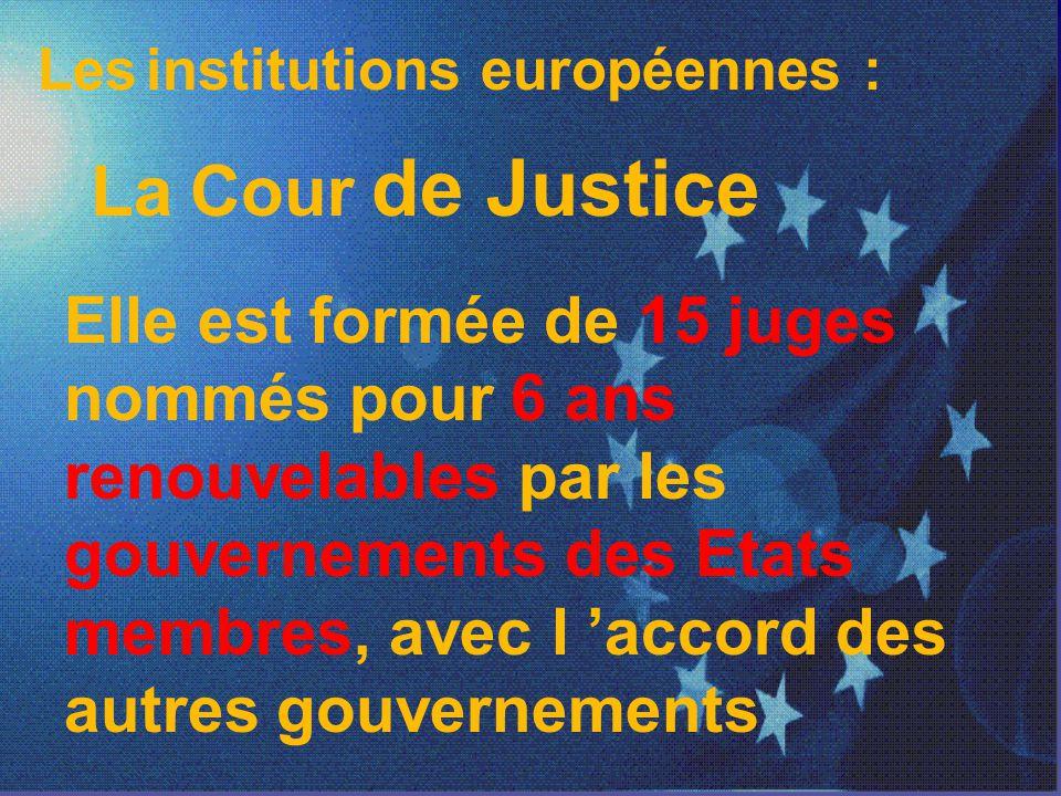 Les institutions européennes :