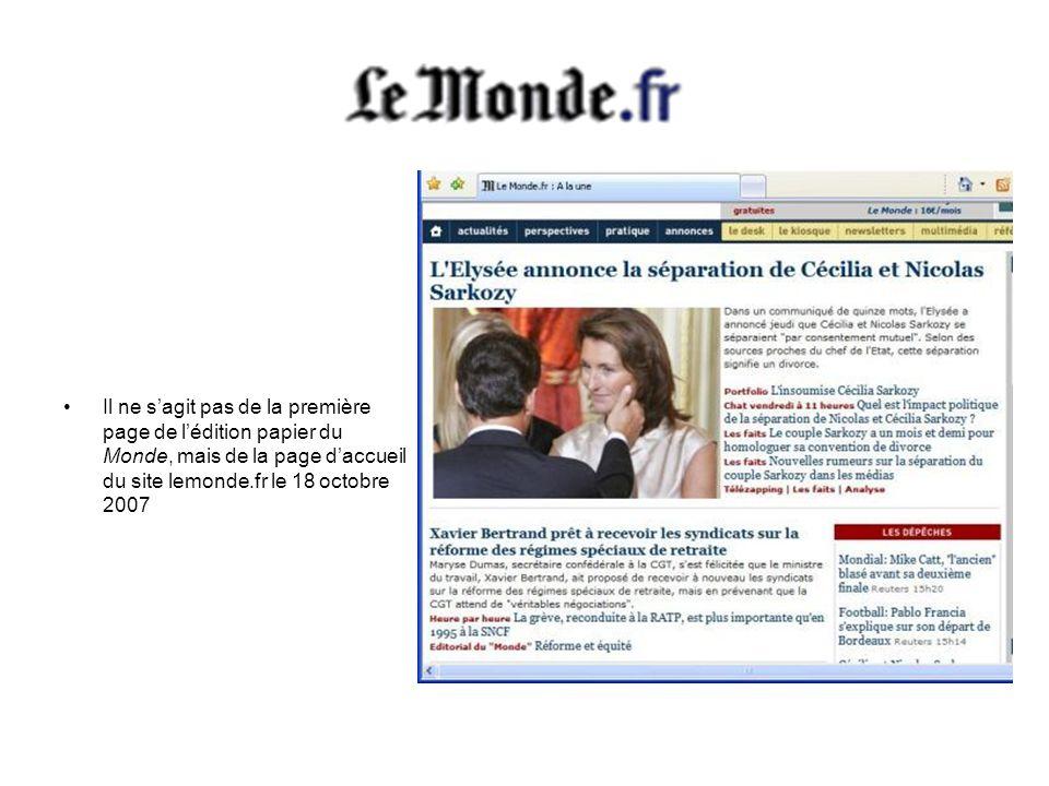 Il ne s'agit pas de la première page de l'édition papier du Monde, mais de la page d'accueil du site lemonde.fr le 18 octobre 2007