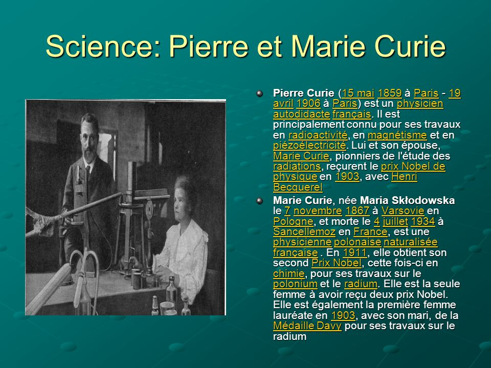 Science: Pierre et Marie Curie