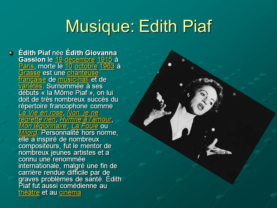 Musique: Edith Piaf