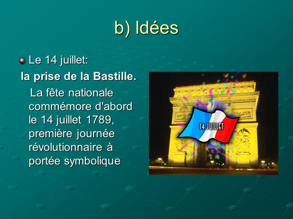 b) Idées Le 14 juillet: la prise de la Bastille.