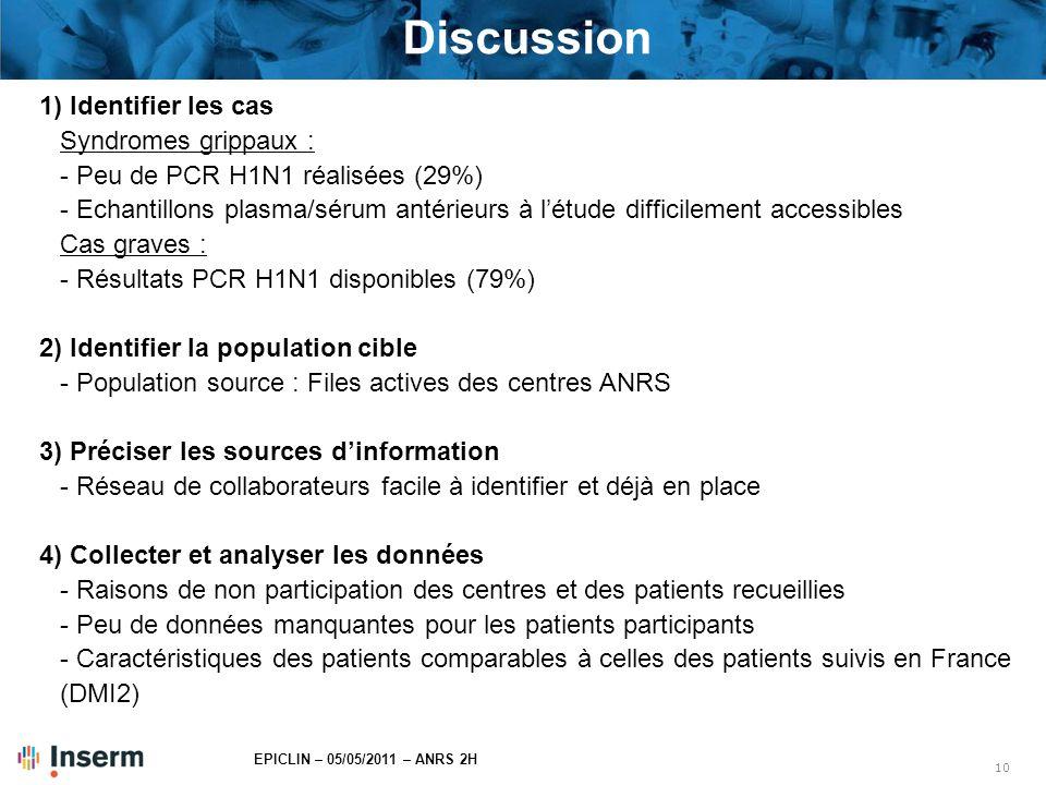 Discussion 1) Identifier les cas Syndromes grippaux :