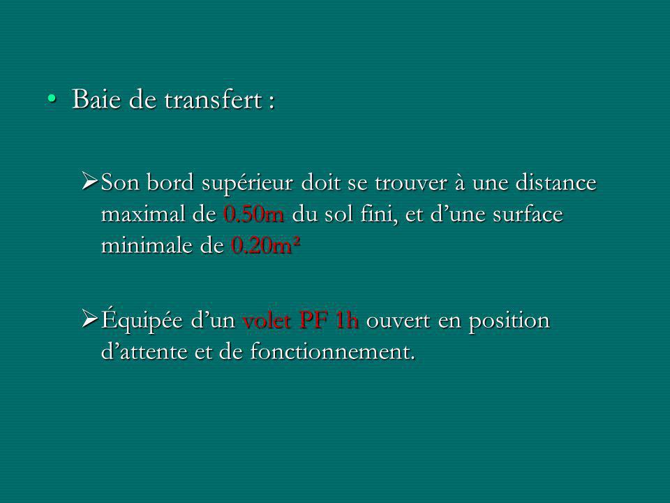 Baie de transfert : Son bord supérieur doit se trouver à une distance maximal de 0.50m du sol fini, et d'une surface minimale de 0.20m².
