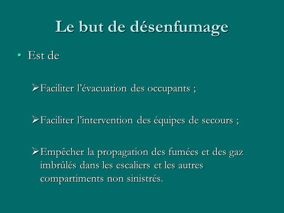Le but de désenfumage Est de Faciliter l'évacuation des occupants ;