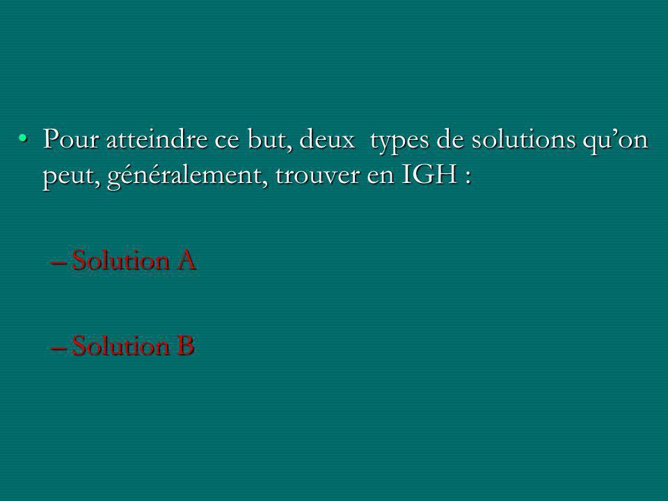 Pour atteindre ce but, deux types de solutions qu'on peut, généralement, trouver en IGH :
