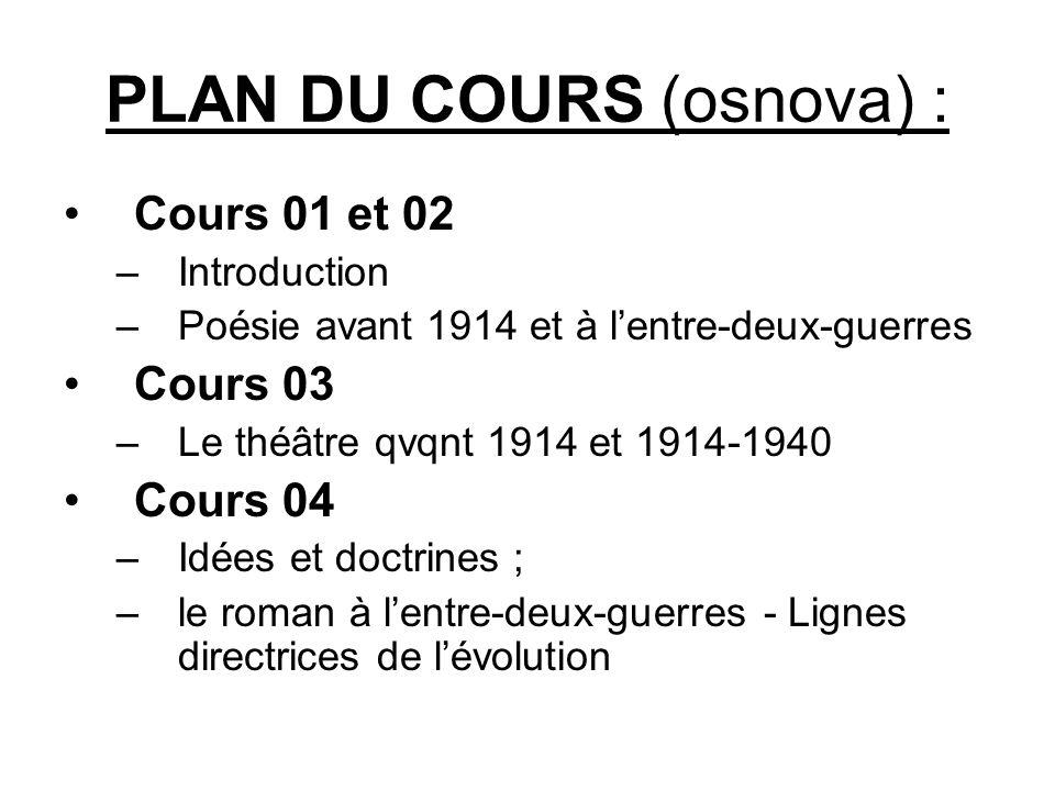 PLAN DU COURS (osnova) :