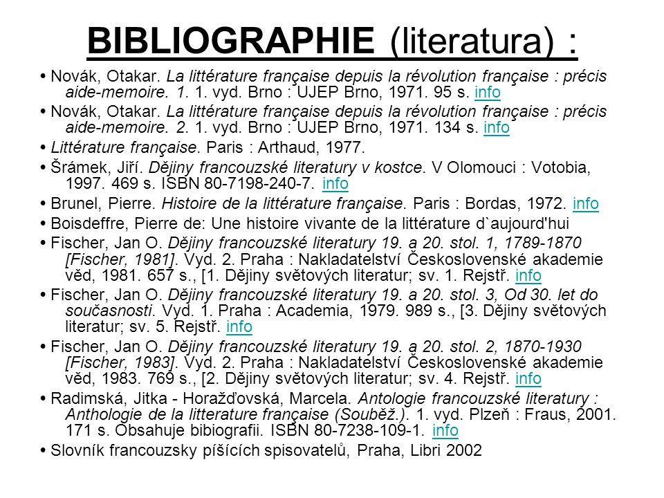 BIBLIOGRAPHIE (literatura) :
